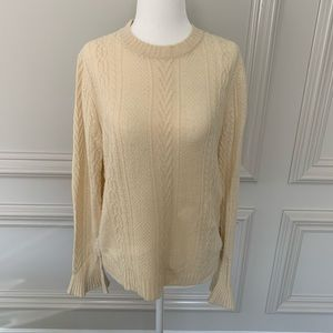 J. Crew Ivory Cable Knit Sweater Ruffle Sleeves Sm